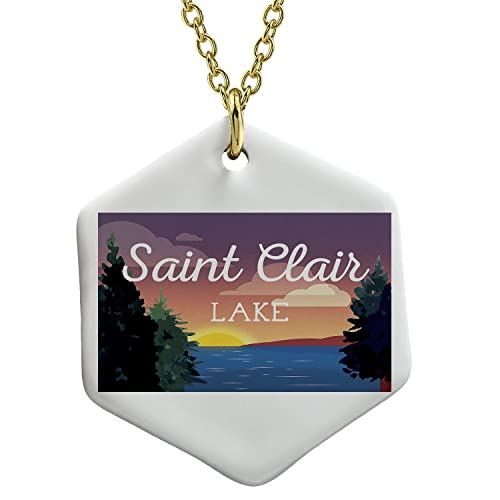 Ceramic Necklace - Lake retro design Lake Saint Clair Jewelry Neonblond