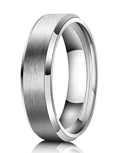 Wedding Band For Men.Just Lsy 6mm Wedding Band Men Titanium Ring Engagement Ring Silver Comfort Fit Beveled Edges Matte Finish Size 5 5 15