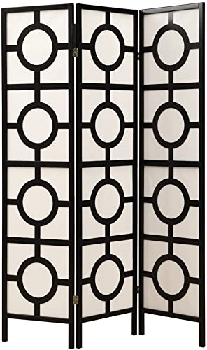 Monarch Specialties Frame 3-Panel Circle Design Folding Screen, Black
