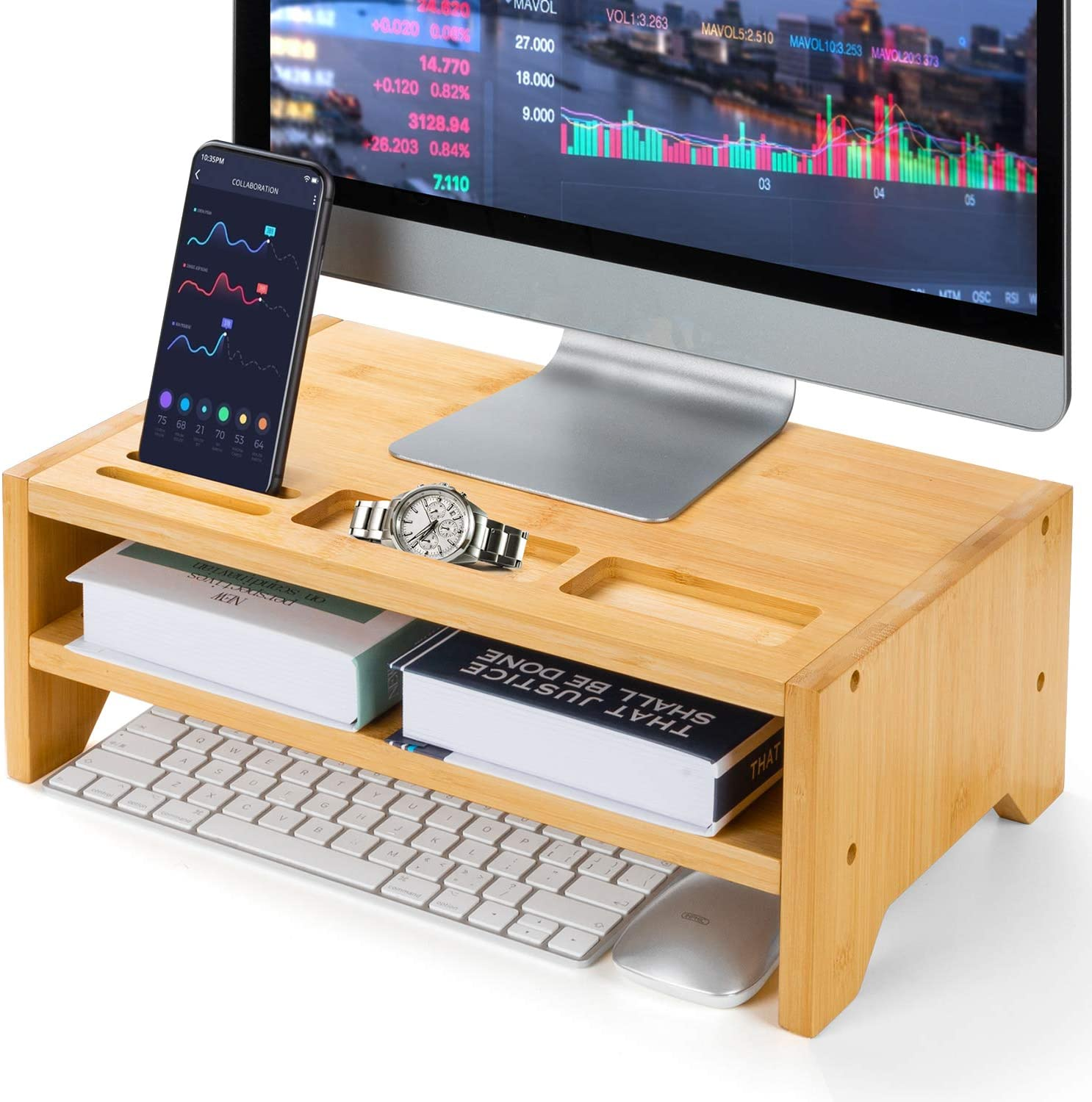 2-Tier Bamboo Desk Monitor Riser Stand - Desk Storage Organizer for Home and Office Computer Desk Laptop Cellphone Printer Stand Desktop Container by AMADA HOMEFURNISHING