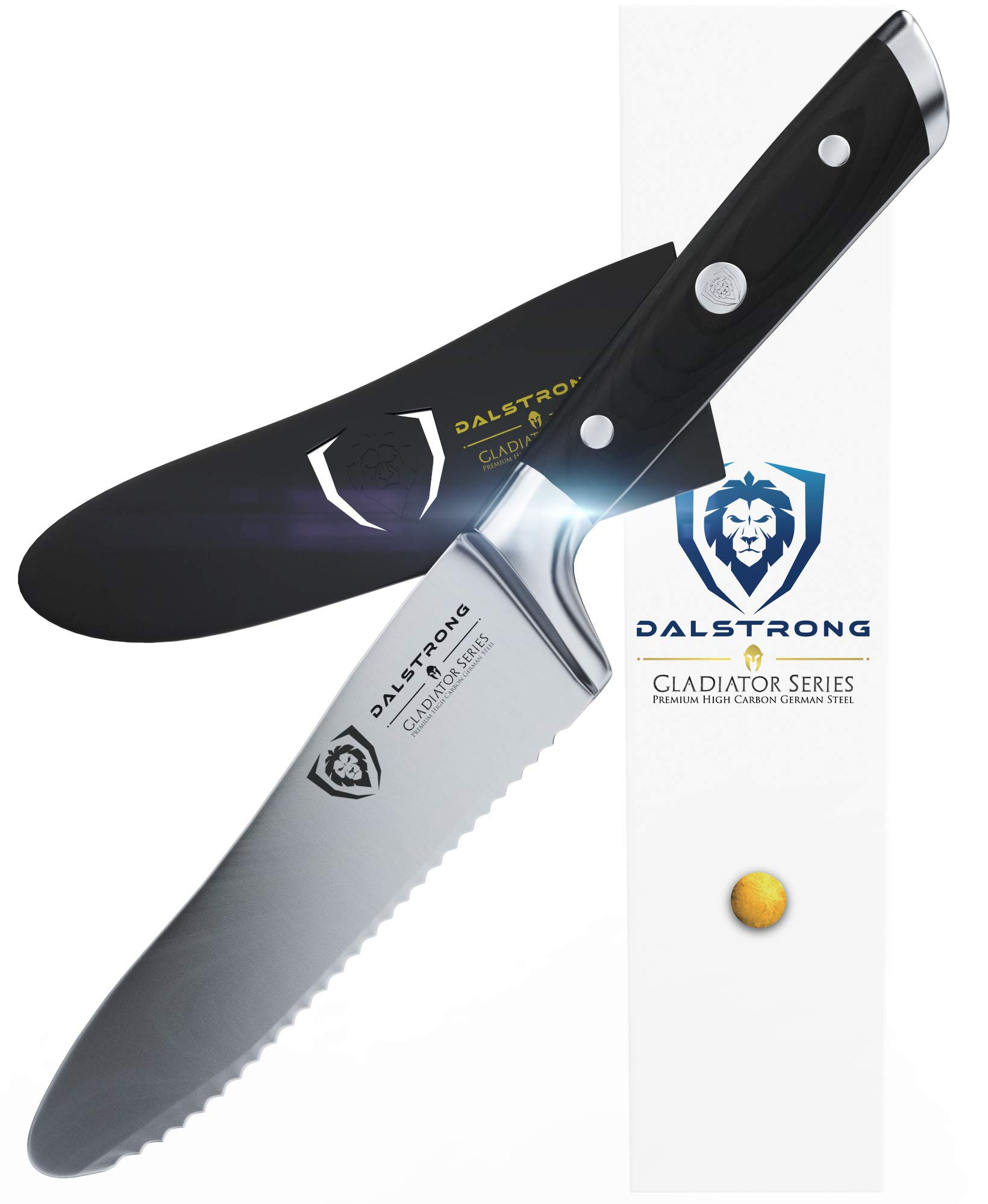 DALSTRONG Gladiator Series Sandwich Knife - 6'' Ultimate Utility Knife and Spreader - German HC Steel -Guard Included