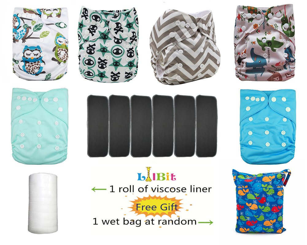 Lilbit 6 Solid Adjustable Baby Cloth Diapers with 6 Pcs Bamboo Charcoal Inserts,flushable Viscose Liners,Wet//Dry Bag Ymxtzzh07