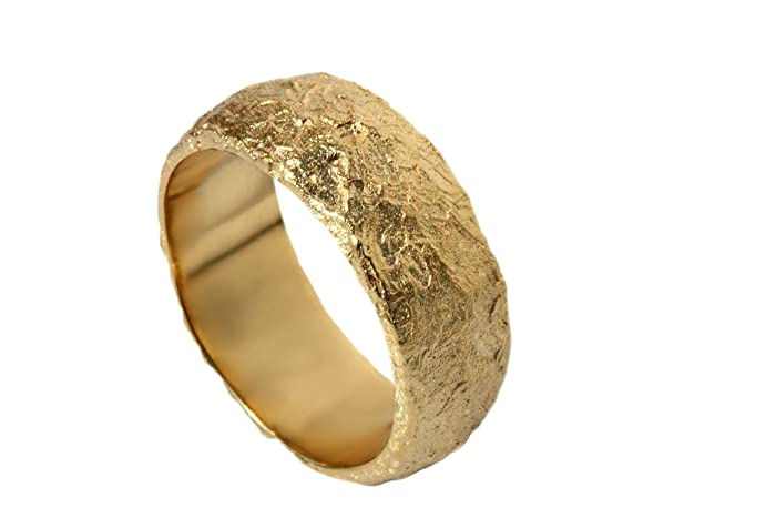 133b9afc6e129 Amazon.com: Wide Organic textured wedding band for men and women 14k ...