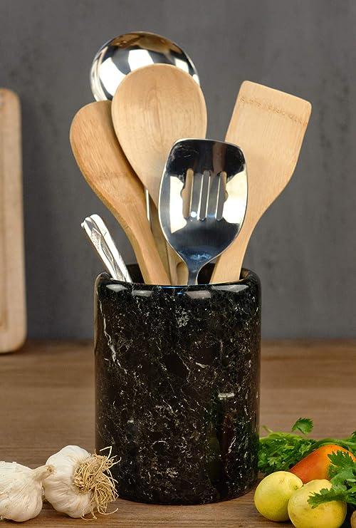 Utensil Holder Spoon Caddy Countertop Black Handmade Marble kitchen Utensils set organizer - 5.5x6.5 Inch flatware chopstick Canister Utinsle Holders – Non Bamboo - Home Accessories (BZ-03)