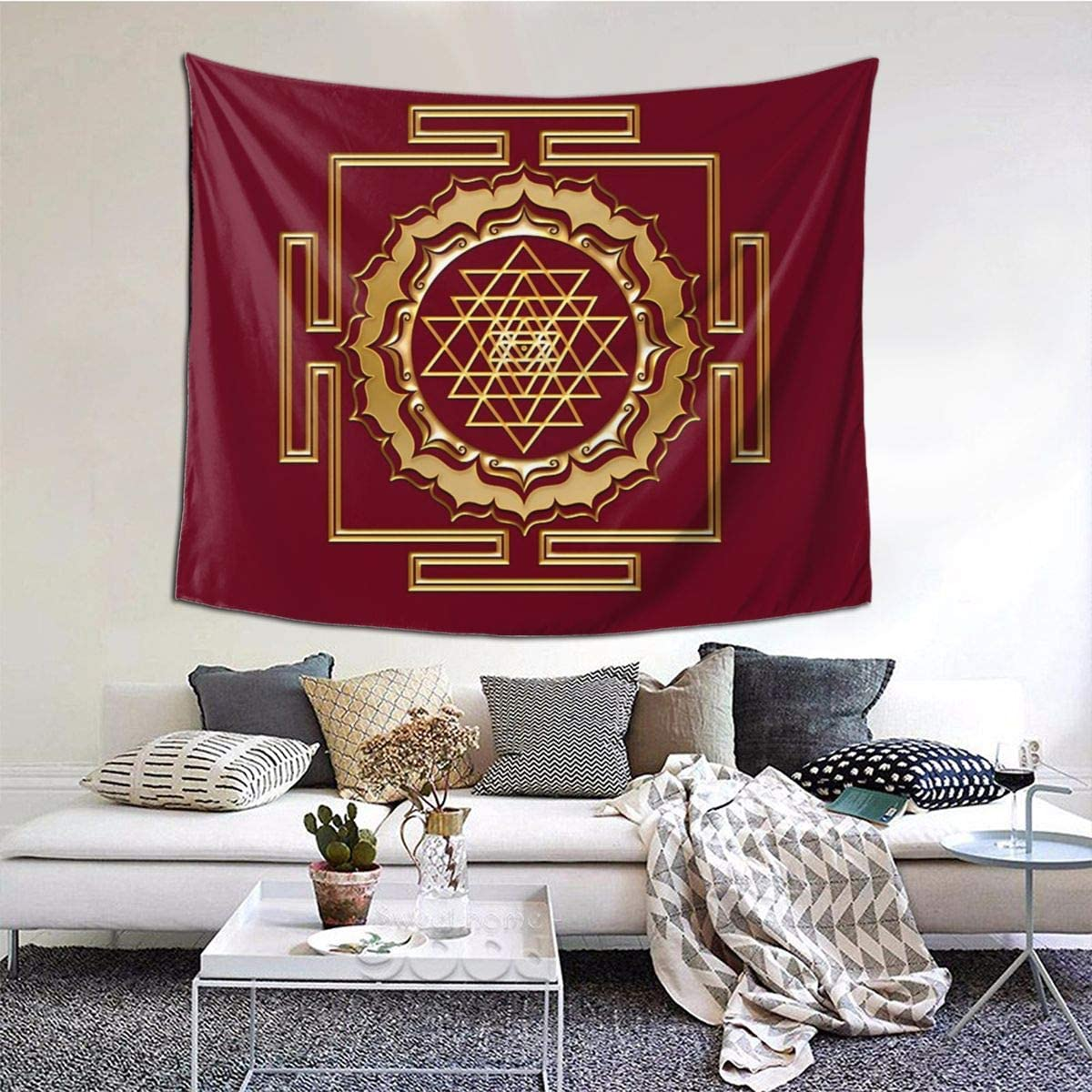 TANGOGO Tapestry Funny Shri Yantra - Cosmic Conductor of Energy Wall Hanging Home Decor for Living Room Bedroom Dorm Room 60 W X 51 H Inches