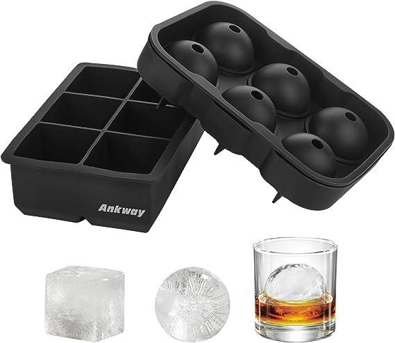 Ankway Bandeja de Hielo de Silicona,Cubiteras para Hielo sin BPA Moldes de hielo de silicona Molde cuadrado y redondo Bola de hielo para ...
