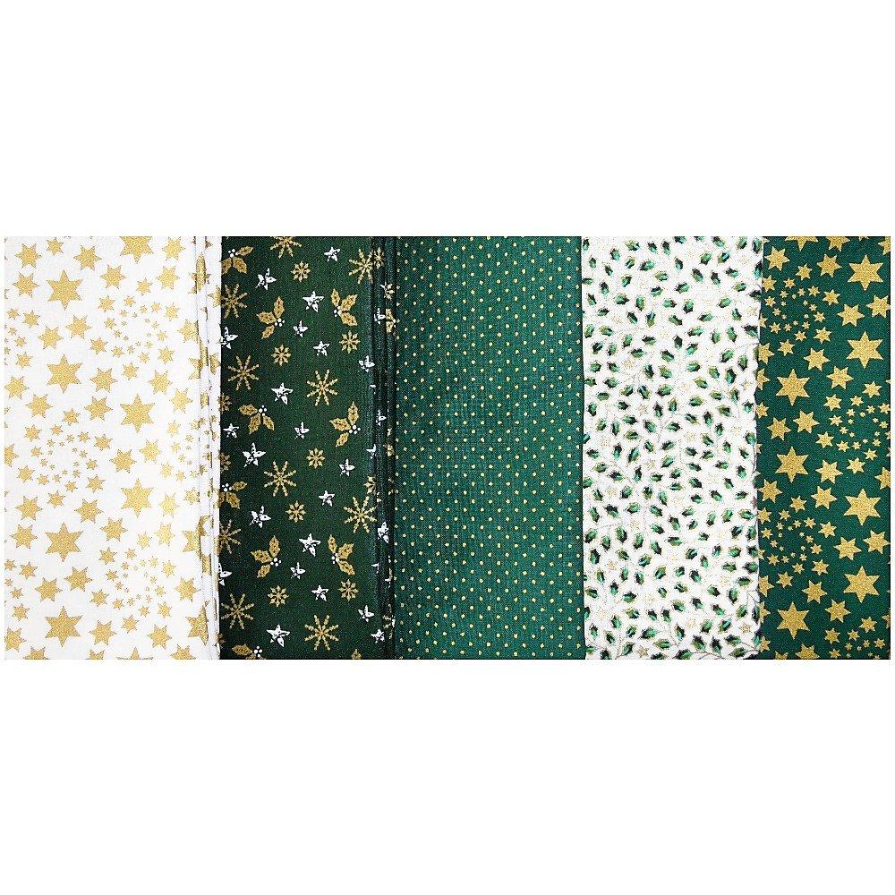 Navidad tela de algodón Craft - Fat Quarter Bundle - verde Mix: Amazon.es: Hogar