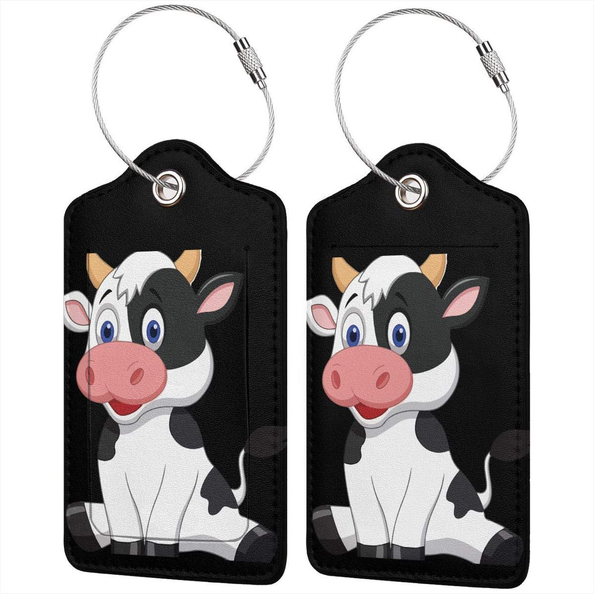 Cute Baby Cow Cartoon Travel Luggage Tags With Full Privacy Cover Leather Case And Stainless Steel Loop