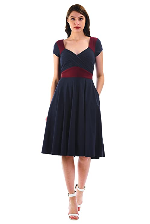 1940s Dresses | 40s Dress, Swing Dress eShakti Womens Colorblock Cotton Knit Sweetheart Empire Dress $54.95 AT vintagedancer.com