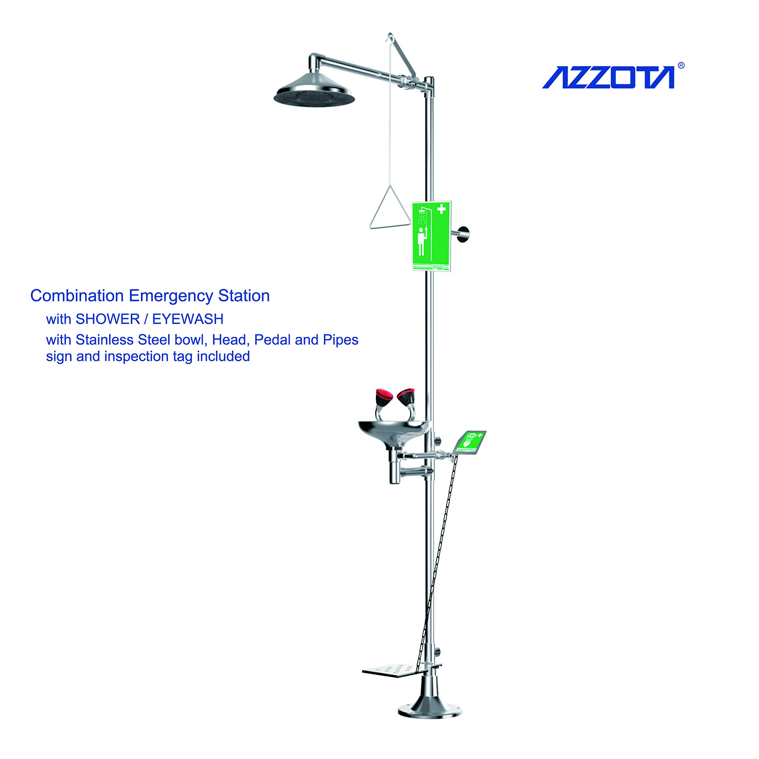 Azzota Combination Emergency Station with SHOWER / EYEWASH with Stainless Steel bowl, head, Pedal and pipes, sign and inspection tag included