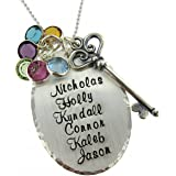 Victorian Key- Personalized Sterling Silver Necklace. Customize with Up To 6 Names. Includes a Solid Sterling Silver Keychain, Birthstones and Choice of 925 Chain. Unique Gifts for Grandma, Mom, Wife