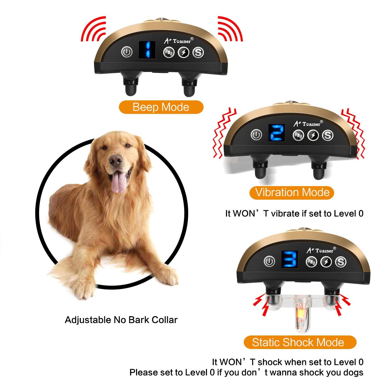 Dog Bark Collar, Waterproof Dog Training Collar, 3 Stop Anti Barking Modes  [Beep, Vibration, and Shock], Anti Bark Collar Rechargeable for