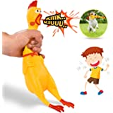 "Hilarious 15"" Rubber Screaming Chicken Toy For Kids & Pets – Super Durable & Funny Squeaky Chicken Dog Chew Toy - Silly Squeezing & Squawking Novelty Gift Idea – Vibrant Colors & Wacky Design"