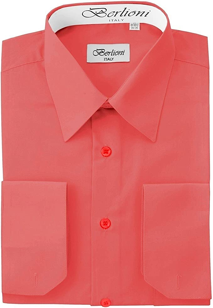 Berlioni Italy Men/'s French Convertible Cuff Solid Colors Dress Shirts