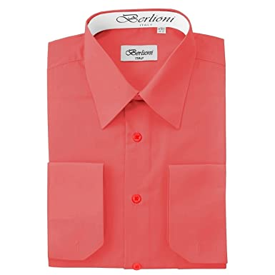 Elegant Men's Button Down Coral Dress Shirt (Small - 14/14.5 Neck ...