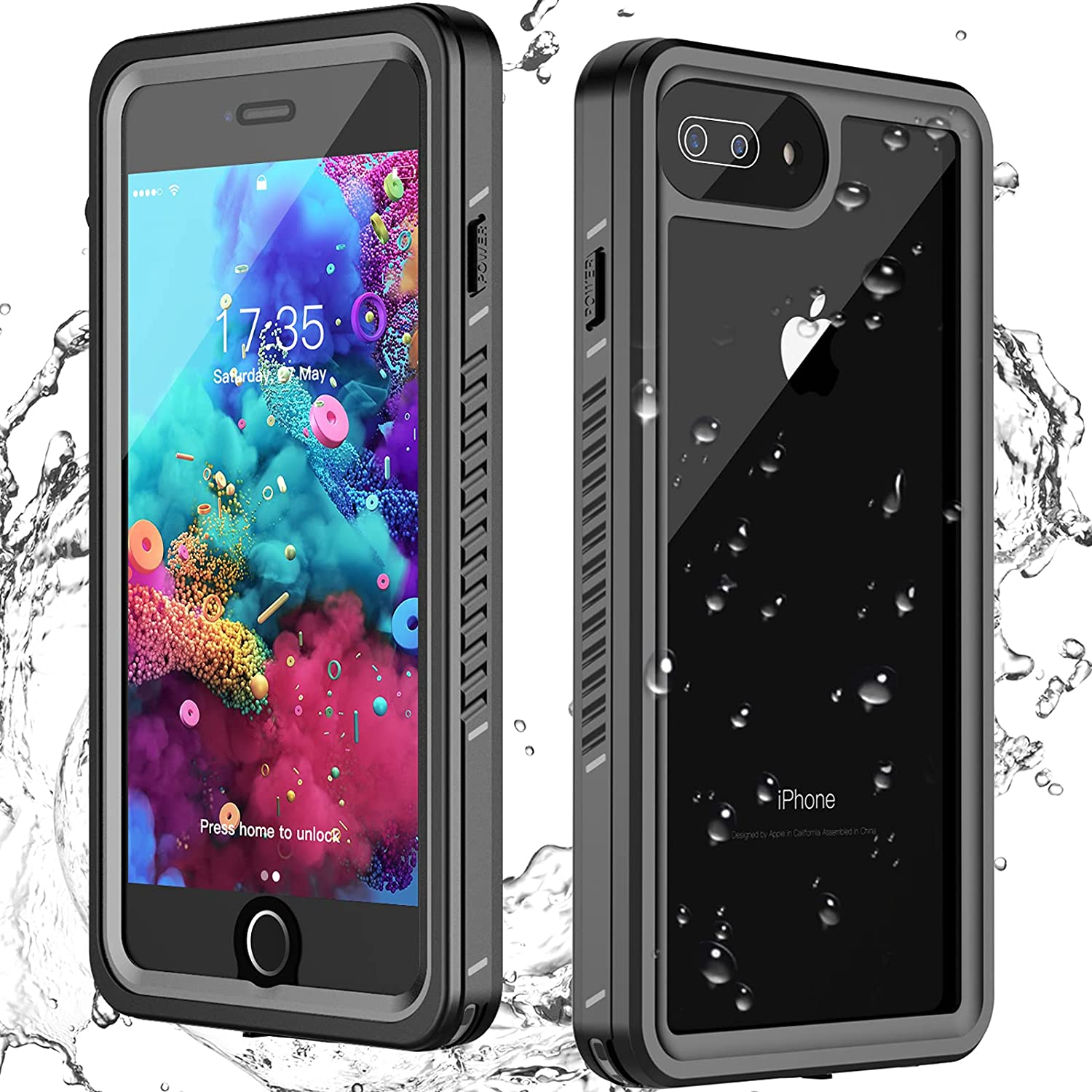 ANTSHARE for iPhone 7 Plus Waterproof Case, iPhone 8 Plus Waterproof case iPhone 7/8 Plus case with Built-in Screen Protector Full Body Cover Shockproof Case for iPhone 7 Plus/8 Plus(5.5')
