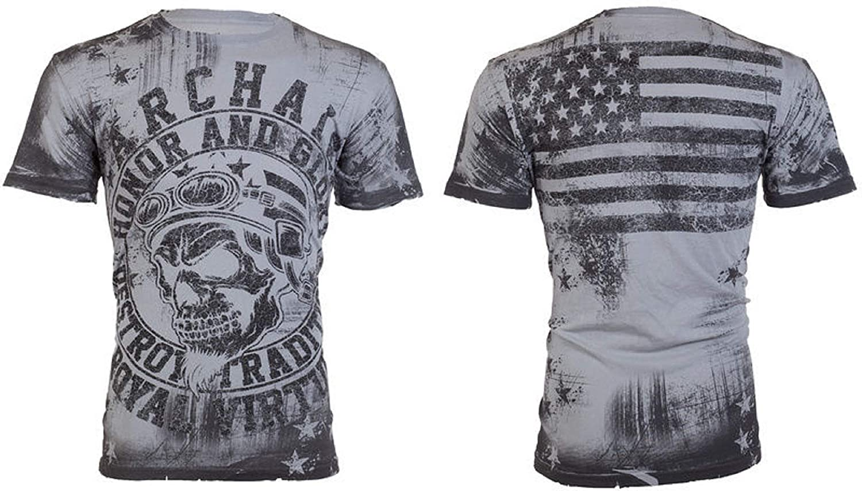 Affliction/ Archaic Mens T-Shirt Racer American Customs USA Flag Biker