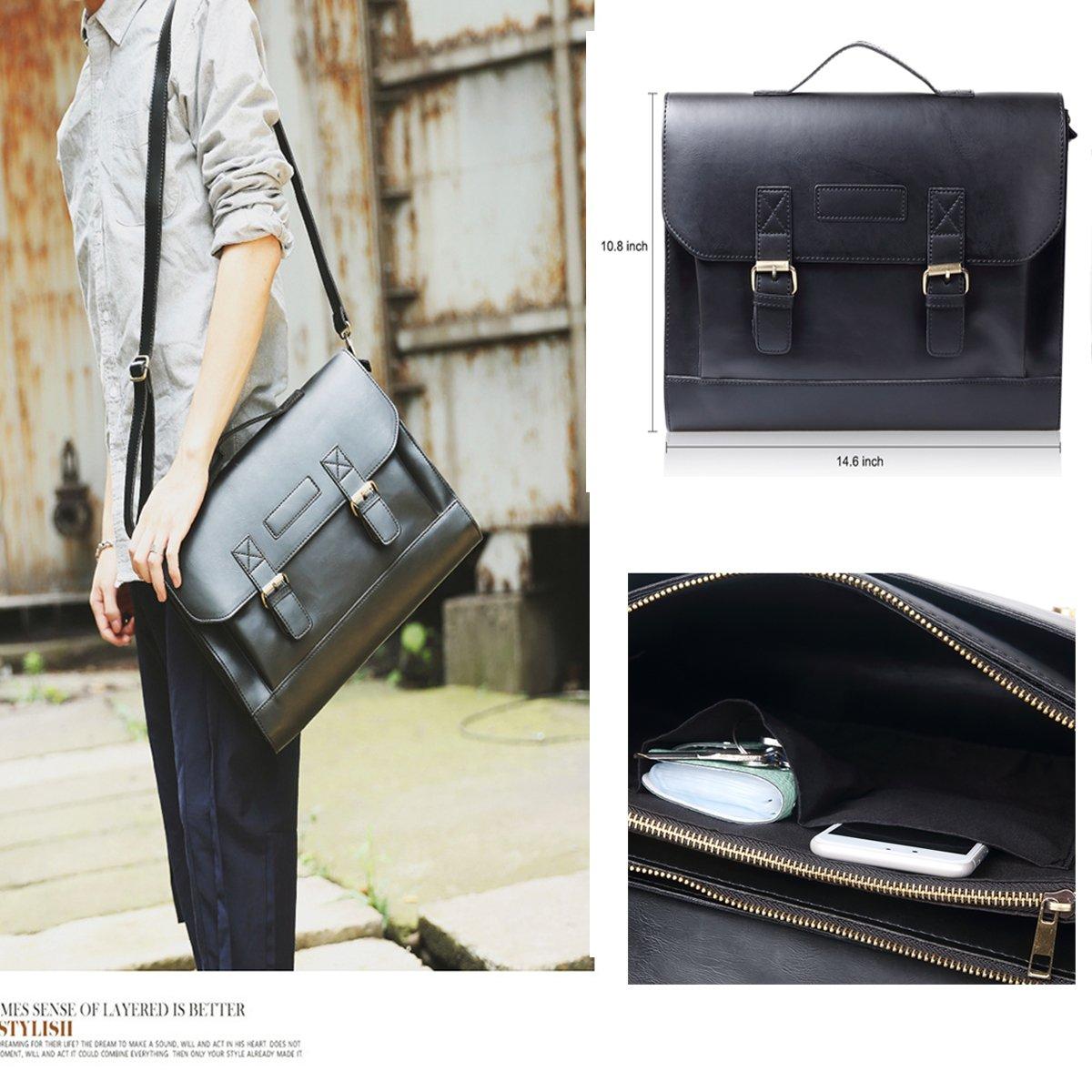 JAKAGO 14.6 Inch Vintage PU Leather Briefcase Laptop Shoulder Messenger Bag Tote School Distressed Bag for Women and Men by JAKAGO (Image #8)