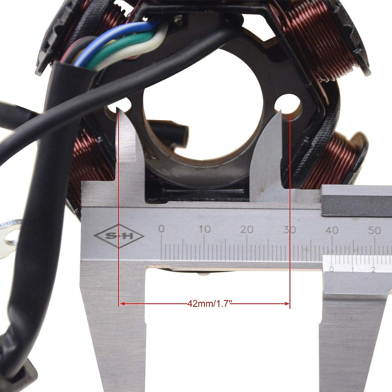 WOOSTAR Stator Dallumage Magneto 6 Bobine 5 Fils Remplacement pour GY6 Taotao 50cc 70cc 90cc 110cc 125cc Scooter Cyclomoteur Aller Kart ATV 4 Roues Dirt Pit Bike