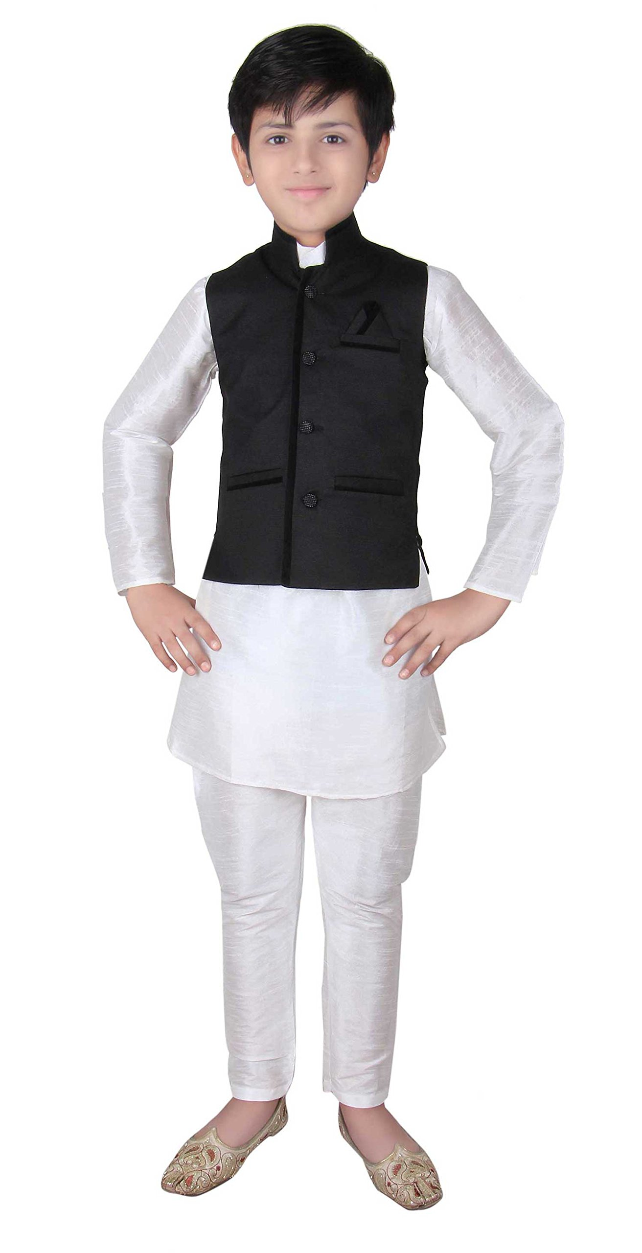 Boys Indian Modi Nehru Style Waistcoat for shalwar kameez for Bollywood theme party shops London 001 (13 (13 yrs), Black)