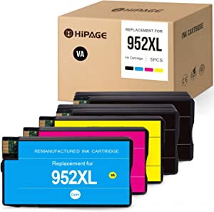 HIPAGE Remanufactured Ink Cartridge Replacement for HP 952XL 952 XL High Yield Combo Pack for OfficeJet Pro 8710 8720 8702 7740 8715 8740 8210 7720 8730 8725 8216(Black, Cyan, Magenta, Yellow, 5-Pack)