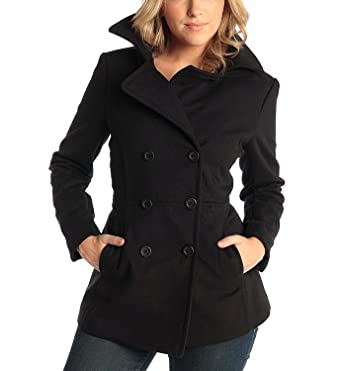 a0f887da7de alpine swiss Emma Women s Black Wool 3 4 Length Double Breasted Peacoat  Small