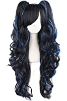 MapofBeauty Multi-color Lolita Long Curly Clip on Ponytails Cosplay Wig (Black/ Blue)