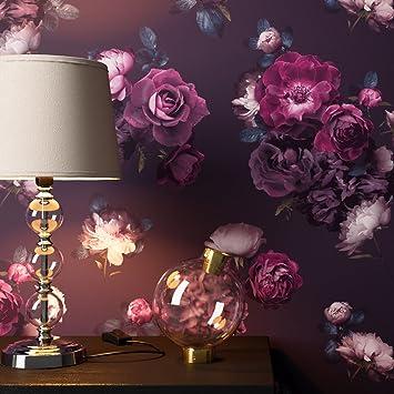 Newroom Papier Peint Floral Noir Roses Fleur Floral Papier Violet