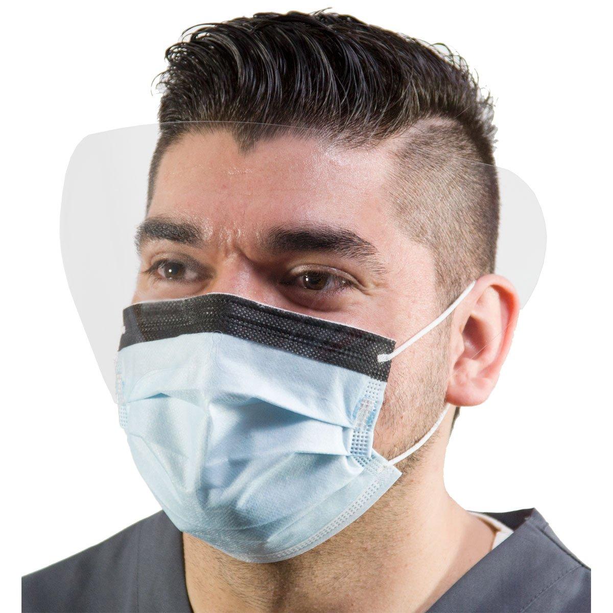 Disposable Procedure Face Mask Eye Shield Earloops Blue 120mm HG