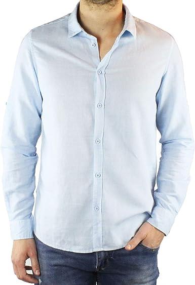 Camisa hombre lino Slim Fit blanco azul beige verde mostaza ...