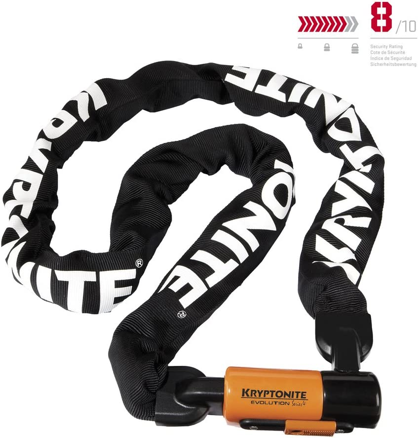 Kryptonite Evolution Series-4 1016 Integrated Chain Bicycle Lock Bike Lock, 5.25 160cm chain length