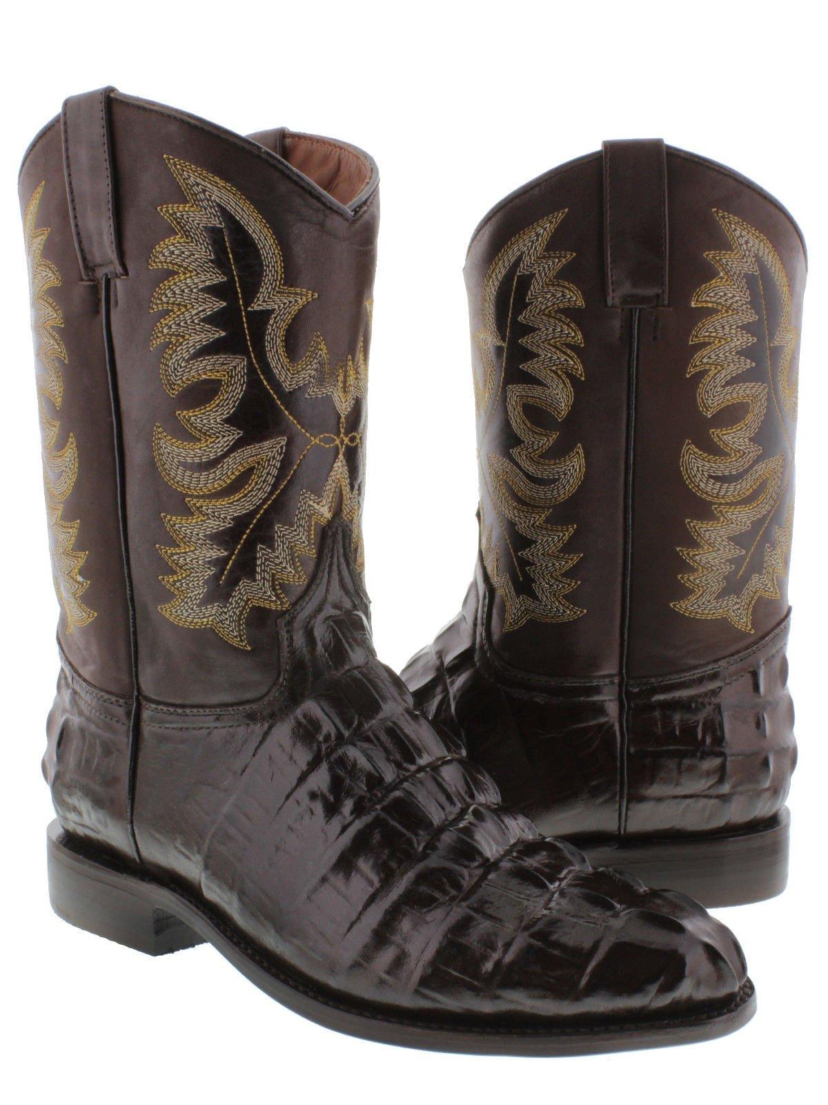 El Presidente - Men's Brown Crocodile Tail Design Leather Cowboy Boots Roper 12.5 D