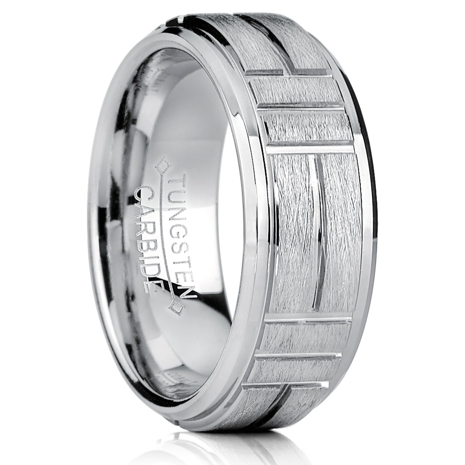 Tungsten Carbide Mens Textured Brushed Grooved Wedding Band Ring Comfort Fit 8mm Metal Masters Co