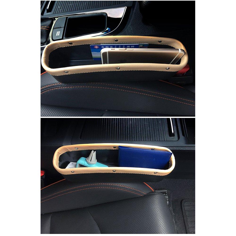 Brown AUTOFAN PU Leather Car Pockets Organizer Car Seat Gap Filler and Catcher Organizer