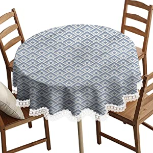 SoSung Geometric Decorative Round Table Cloth,Diagonal Nested Squares Washable Polyester Lace Edge Table Covers, Diameter 42 Inch, for Wedding Party Dining Banquet