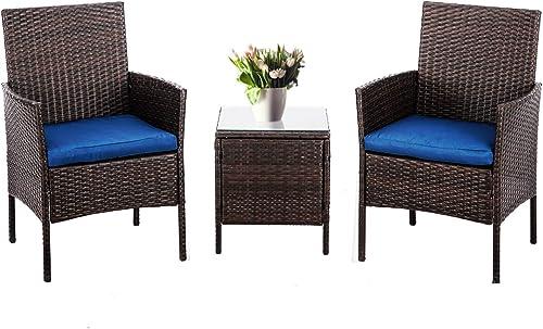 SUNCROWN 3-Piece Patio Bistro Outdoor Furniture Set