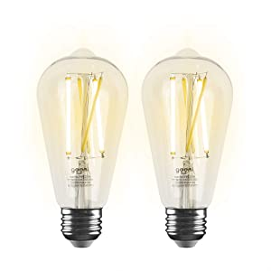 Geeni LUX Edison ST21 (ST64) Edison WiFi LED Smart Bulb, 2700K -6500K 8W, E26 Base, Dimmable, Tunable White Light, Compatible with Amazon Alexa & Google Assistant - No Hub Required- 2 Pack