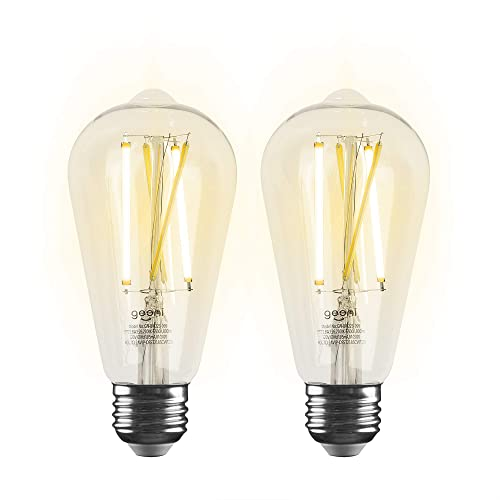 Geeni LUX Edison ST21 ST64 Edison WiFi LED Smart Bulb, 2700K -6500K 8W, E26 Base, Dimmable, Tunable White Light, Compatible with Amazon Alexa Google Assistant - No Hub Required- 2 Pack