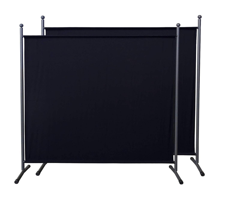 QUICK STAR 2 pi/èces Paravent 180 x 178 cm S/éparateur de tissu Jardin Balcon /Écran de confidentialit/é partition Noir