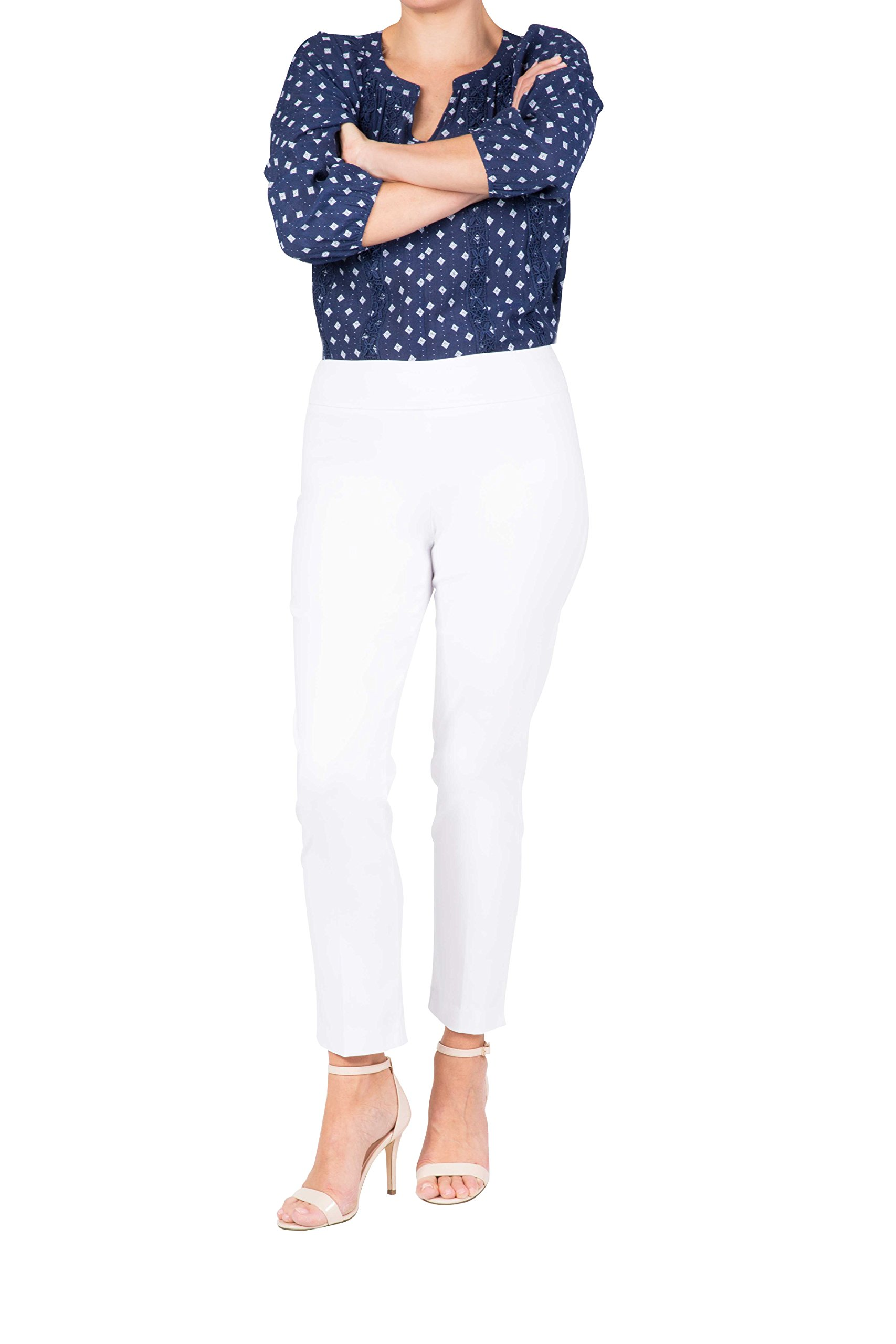 Fundamental Things Women's Pull On Comfort Slim Ankle Pant with Tummy Control, White, Size 8