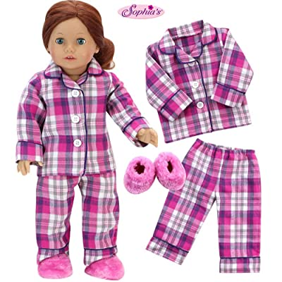 18 Inch Doll PJs | 2 Pc PJ Set Plus Slippers | Plaid Pink Pajamas with Fluffy Slippers for Dolls: Toys & Games