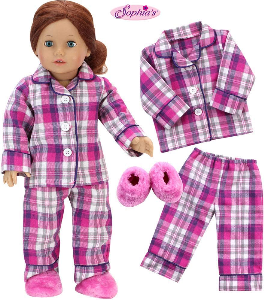 18 Inch Doll PJs | 2 Pc PJ Set Plus Slippers | Plaid Pink Pajamas with Fluffy Slippers for Dolls