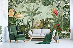 Murwall Forest Wallpaper Tropical Leaf Wall Mural Exotic Jungle Wall Print Natural Home Decor Cafe Design Living Room Bedroom