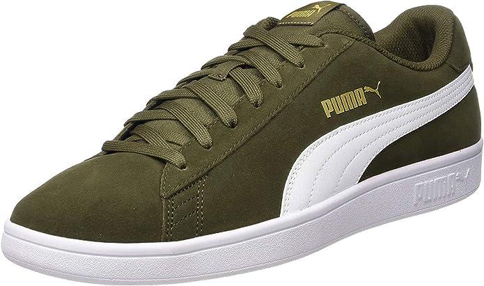 Puma Smash V2 Sneakers Unisex Damen Herren Olivgrün/Weiß