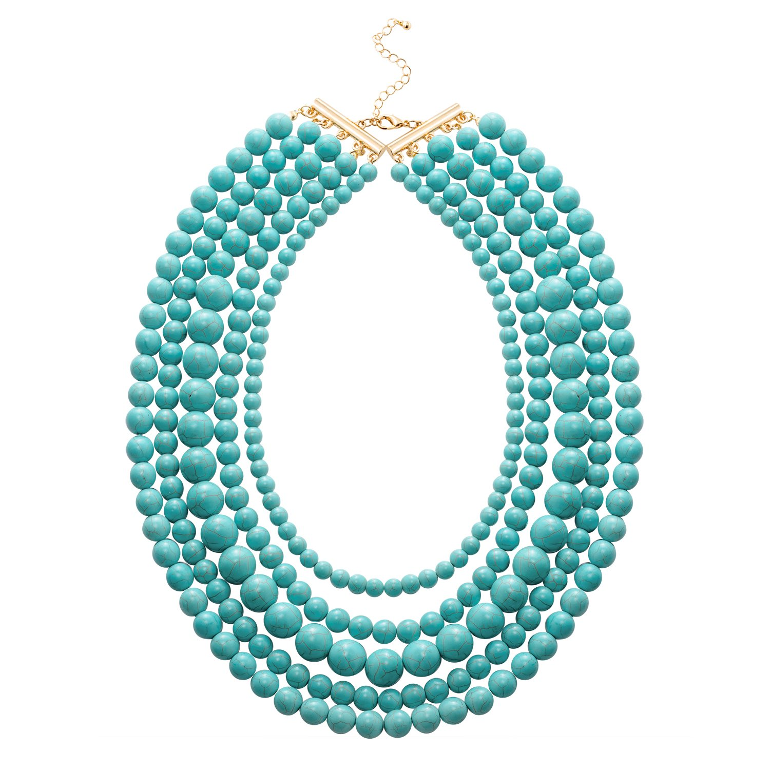 Jane Stone Statement Blue Turquoise Collar Necklace Multi-layered Fashion Chunky Long Beads Beaded Jewelry for Women