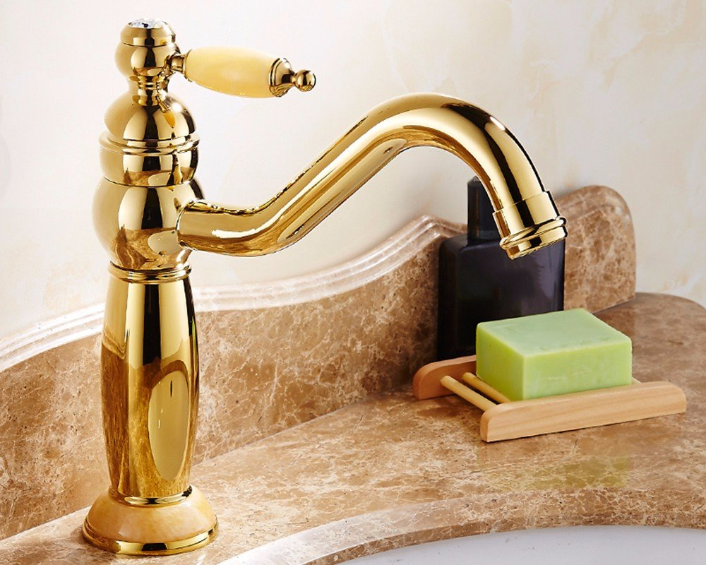 10 LHbox Basin Mixer Tap Bathroom Sink Faucet European style, copper basin, hot and cold, washing your face, jade, gold, sink Faucet 19