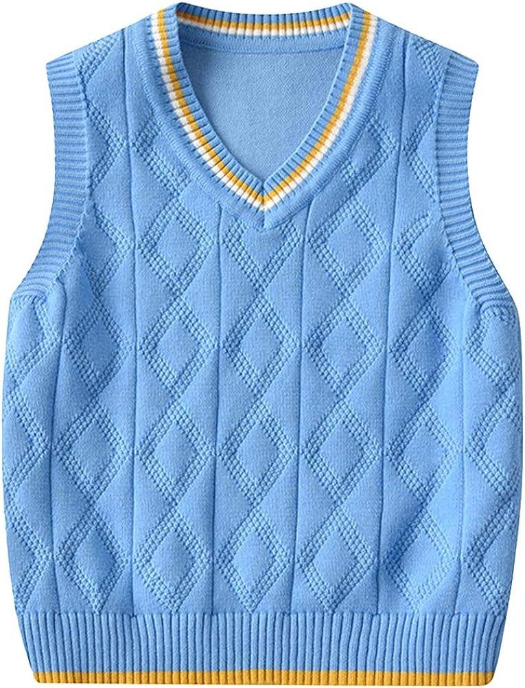 Shengwan Kids Knitted Sweater Vest V-Neck Sleeveless Jumper Boys Girls Knitwear Tank Tops