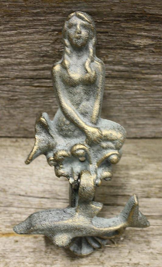 DOLPHIN Door Knocker Green Finish Cast Iron Antique Style Nautical MERMAID