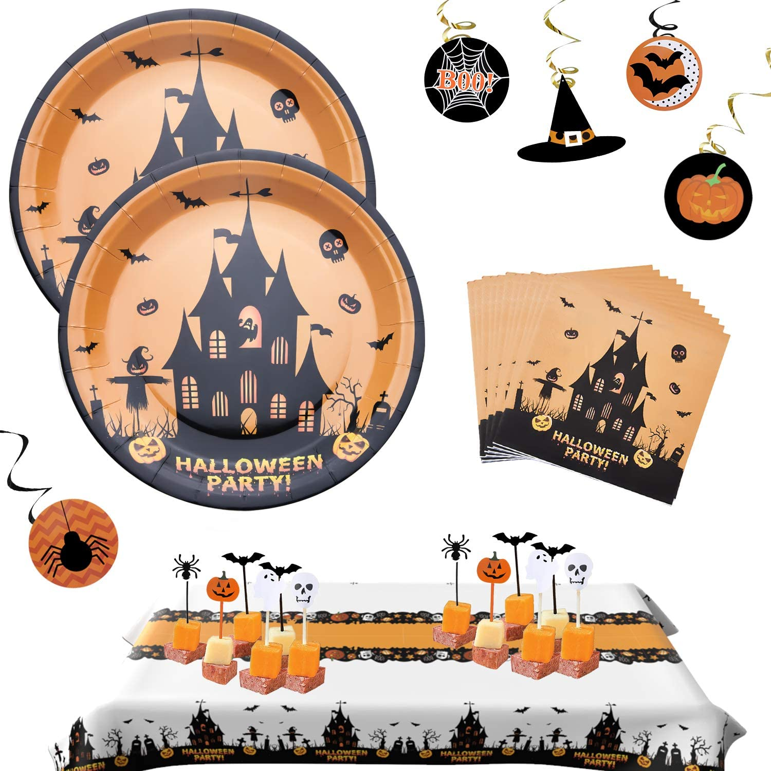12 Hanging Swirls 24 Cake Topper Serves 24 2 Table Cover Halloween Party Plates Orange Paper Plates Halloween Plates Halloween Party Supplies Set Includes 24 Halloween Plates and Napkins