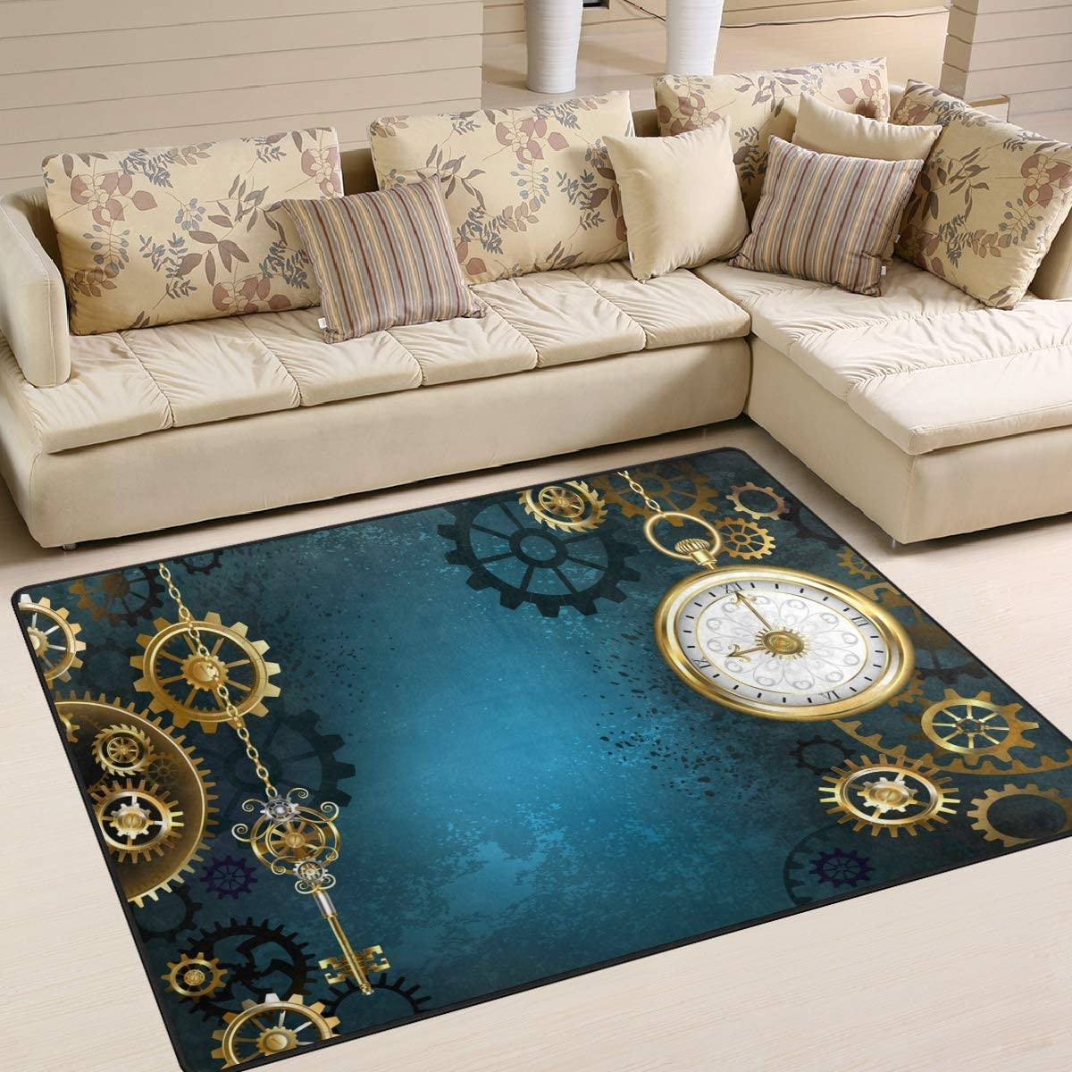 ALAZA Retro Steampunk Gold Gears Clock Area Rug Rugs for Living Room Bedroom 7 x 5